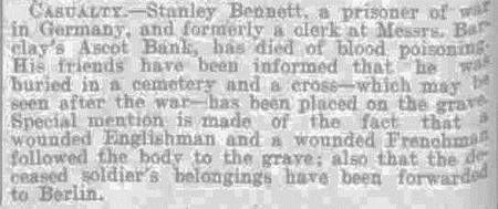 Stanley's detah report in local newspaper