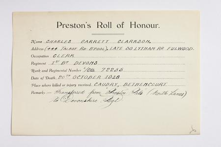 Preston Roll of Honour form for L/Cpl Clarkson.