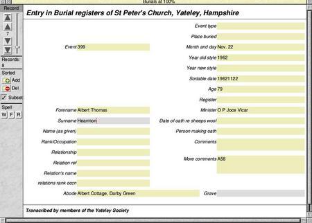 Burial Registers: St Peter's Yateley