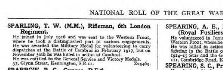 T.W. Sparling in the National Roll of the Great Wa