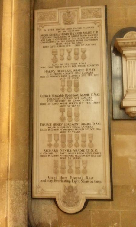 Memorial in the nave of Canterbury Cathedral, Kent