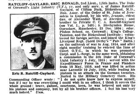 Biography of E. R. Ratcliffe Gaylard
