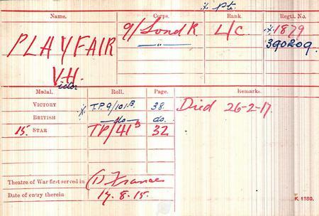 Victor Hamilton Playfair Medal Roll
