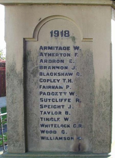 Panel of 1918 names Worsbro' Common WarMem