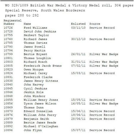 Special Reservists on BWM & WM medal roll