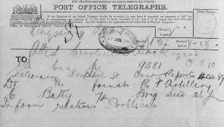 Telegram notifying Royal Artillery of his death