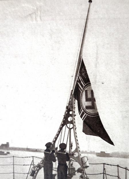 The Kriegsmarine Flags lowered