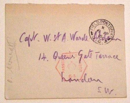 Envelope send to Capt W St A Warde- Aldam