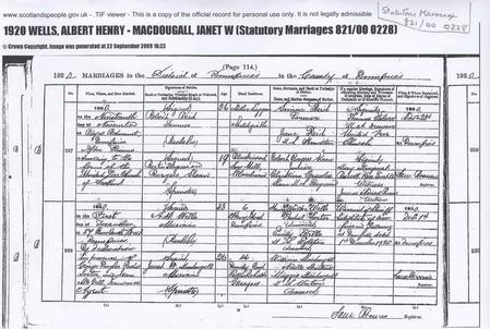 Marriage record 1st December 1920