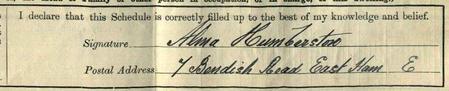 Alma's Signature on His 1911 Census Return