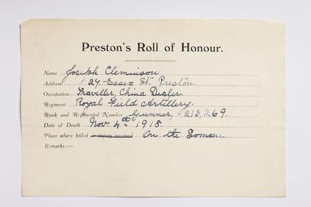 Preston Roll of Honour form for Gunner Cleminson.