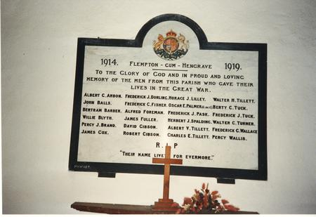 Close up of the Memorial in Flempton