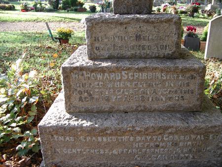 Grave stone base of Howard Scribbins