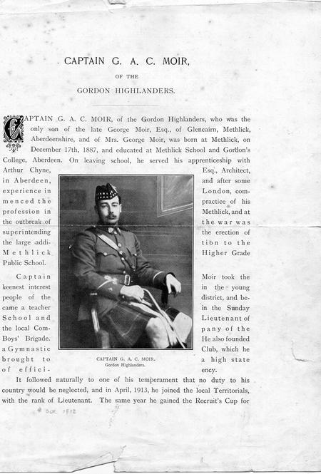 Obituary of Captain George Andrew Christie Moir
