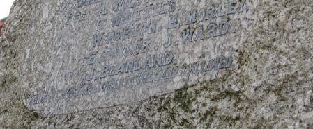 J Beanland's name on Clayton West Memorial