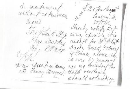Letter from Jacob's mother's doctor