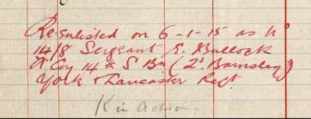 Snip from Edwin Bullock's Earlier Service Records