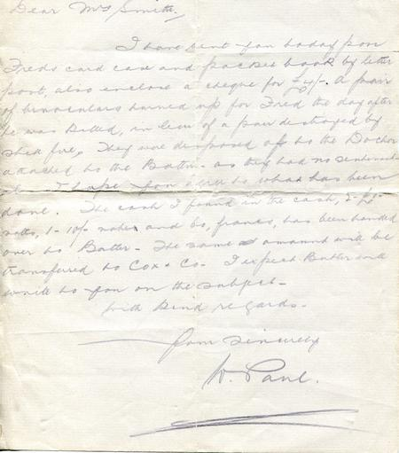 W. Paul letter written to my grandmother