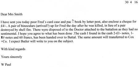 Transcript of W. Paul letter 30th April 1916