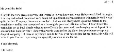 Transcript of E.G.Butler letter 26th April 1916