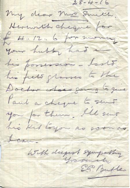 E.G.Butler letter 28th April 1916