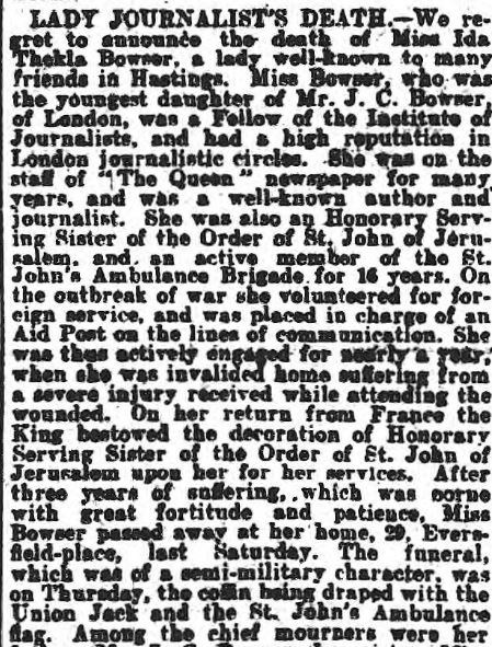 Obit and report of her funeral
