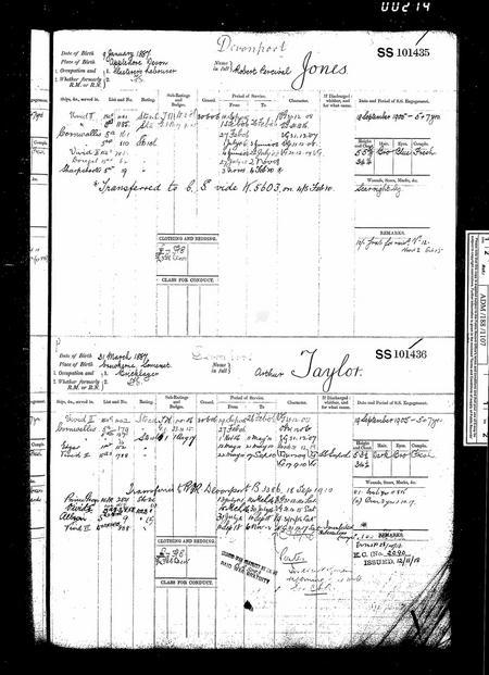 Arthur Taylor Royal Navy service record