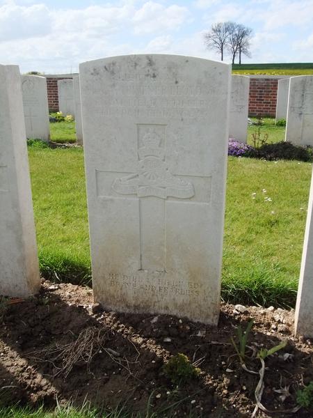 Alan Lloyd's grave in Dartmoor Cemetery, Somme