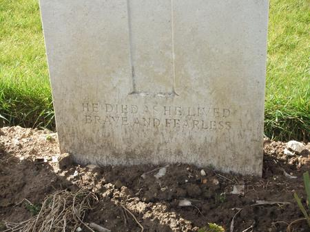 Inscription on Alan Lloyd's grave