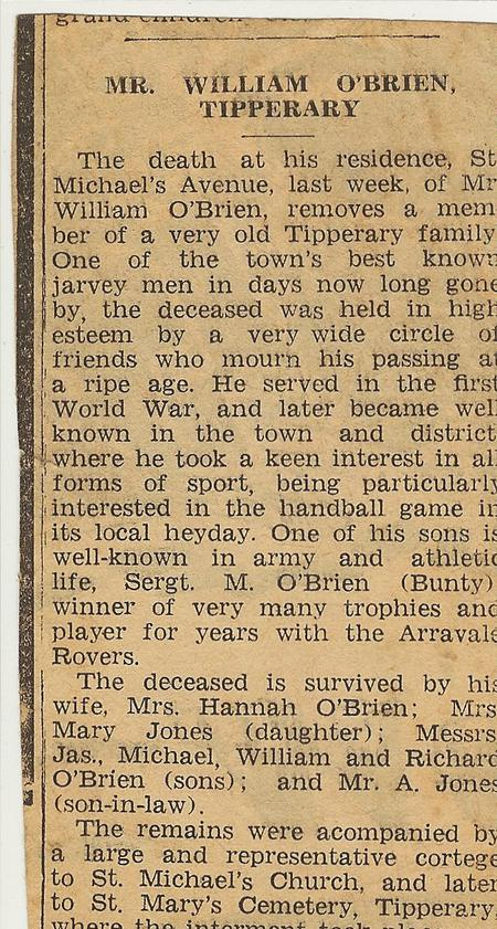 Obituary Notice from local paper