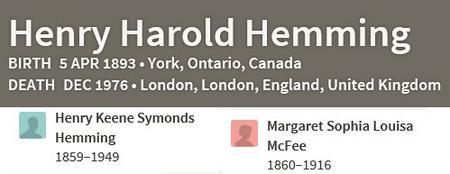 Henry Harold Hemming - Family Tree