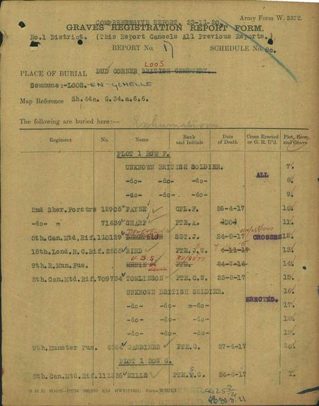 CWGC Register for Dud Corner Cemetery