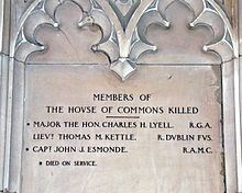 Memorial in Westminster Hall, London