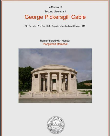 George Cable CWG Certificate