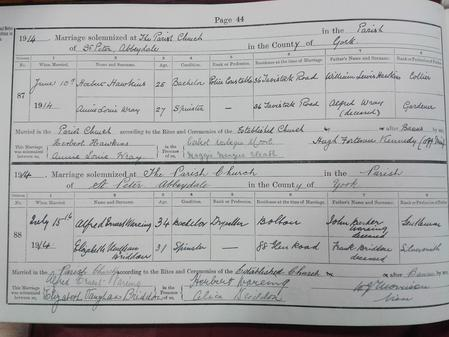 Entry in Marriages Book held at Sheffield Archives