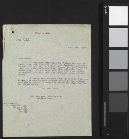 Letter from IWM to Gertrude's mother