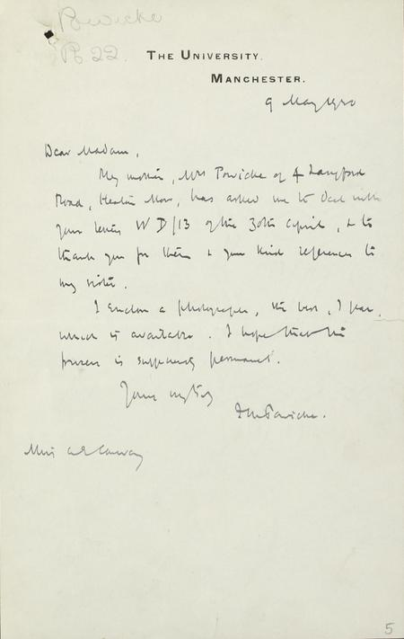 Letter from Gertrude's brother to IWM