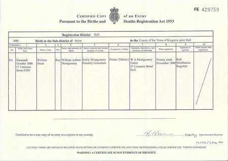 William Oscar Montgomery: Birth Certificate