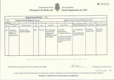 William Oscar Montgomery: Death Certificate