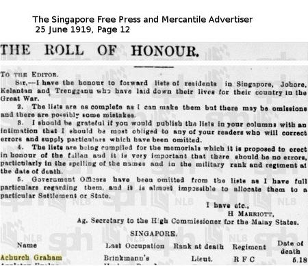 Straits Settlements Roll of Honour