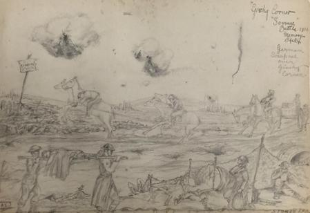 """sketch by Leonard """"somme battle from memory 1916"""""""