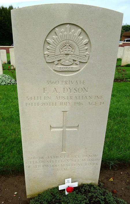 The Grave of Private Frederick Arthur Dyson