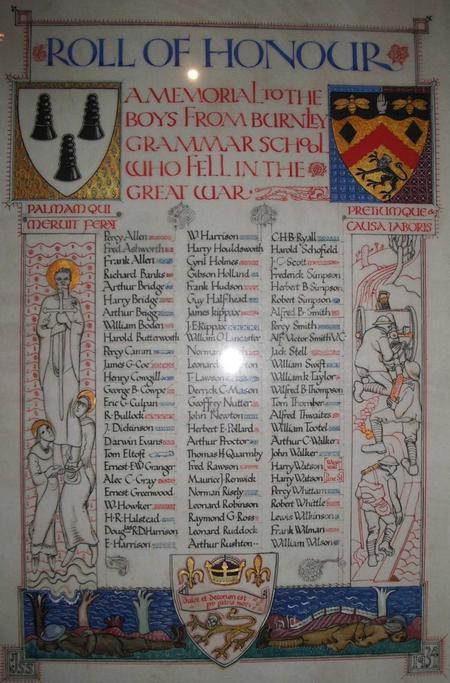 Burnley Grammar School Roll of Honour