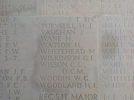 Harry Watson remembered on the Thiepval Memorial