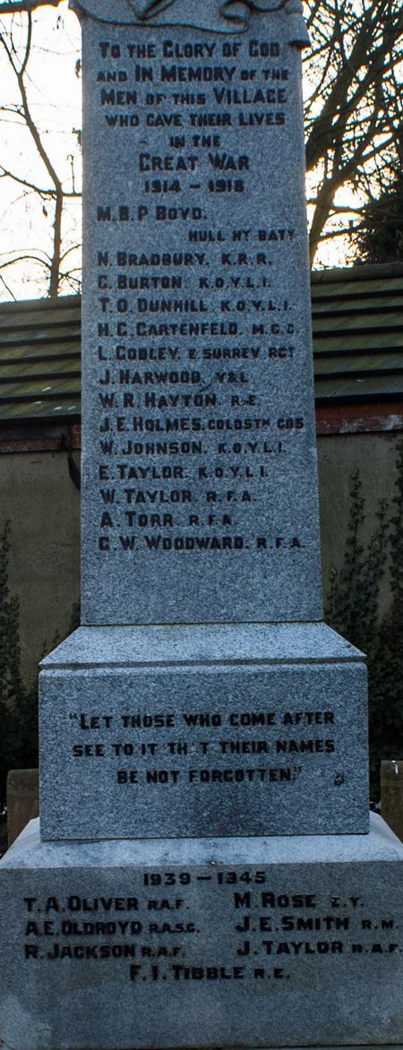 South Hiendley Memorial List