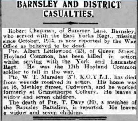 Barnsley District Casualties