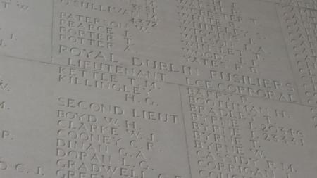 Tom Kettle's name on the Thiepval Memorial