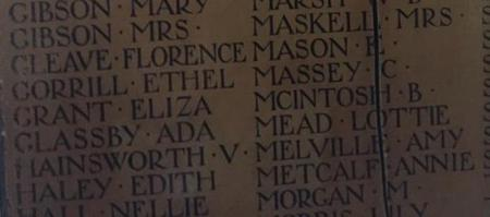 "Lottie's name on ""Women of the Empire"" Memorial"