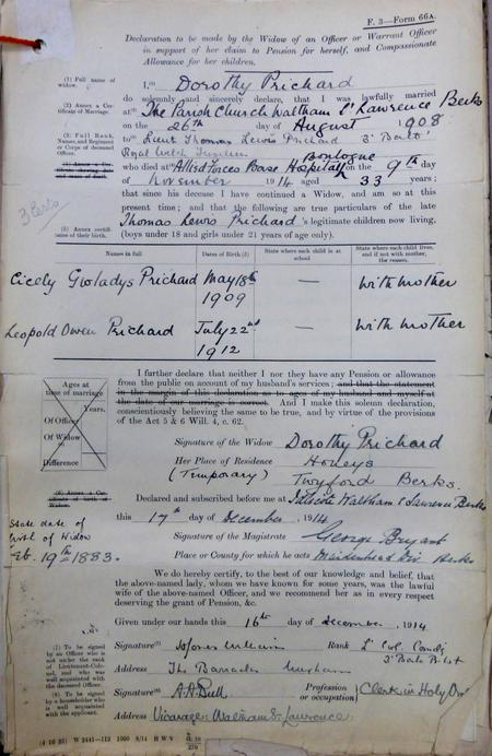 Dorothy Prichard's claim for a widow's pension