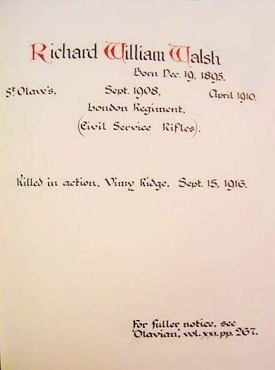 Richard William Walsh - St Olave's School